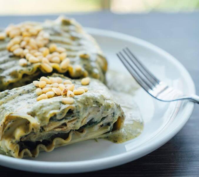 Artichoke and Spinach Lasagna Roll Ups