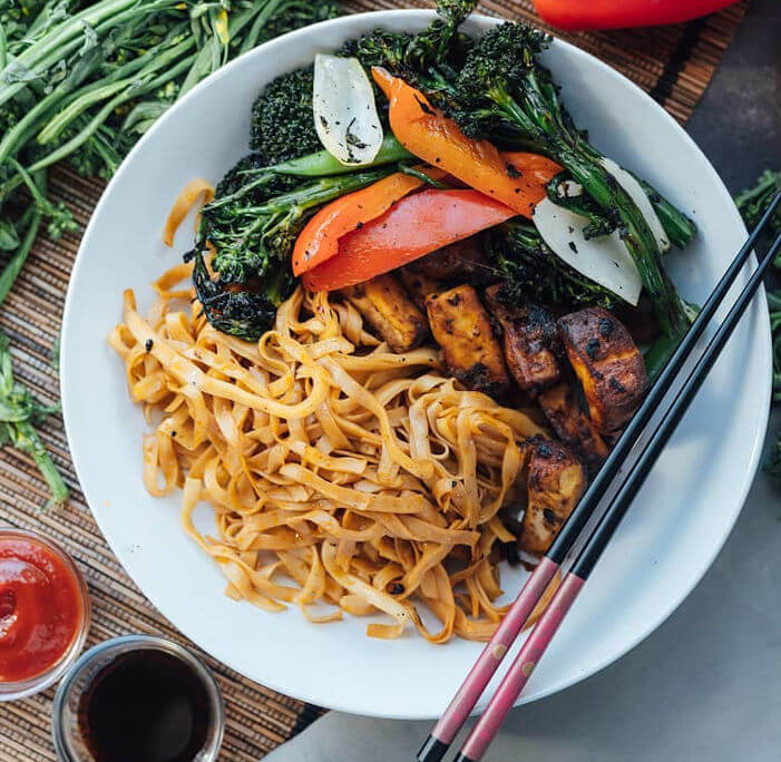 Sichuan Peppercorn Spicy Noodles with Black Bean Tofu and Broccolini Stir Fry