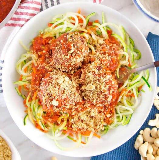 Zucchini and Carrot Pasta Marinara with Plantballs