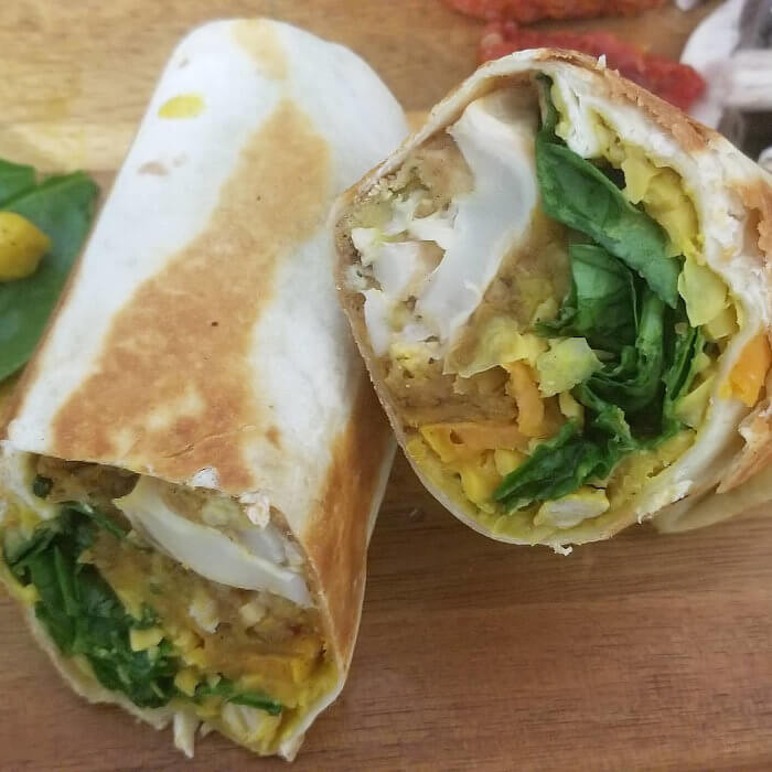 BBQ Cauliflower, Spinach and Sweet Potato Burrito
