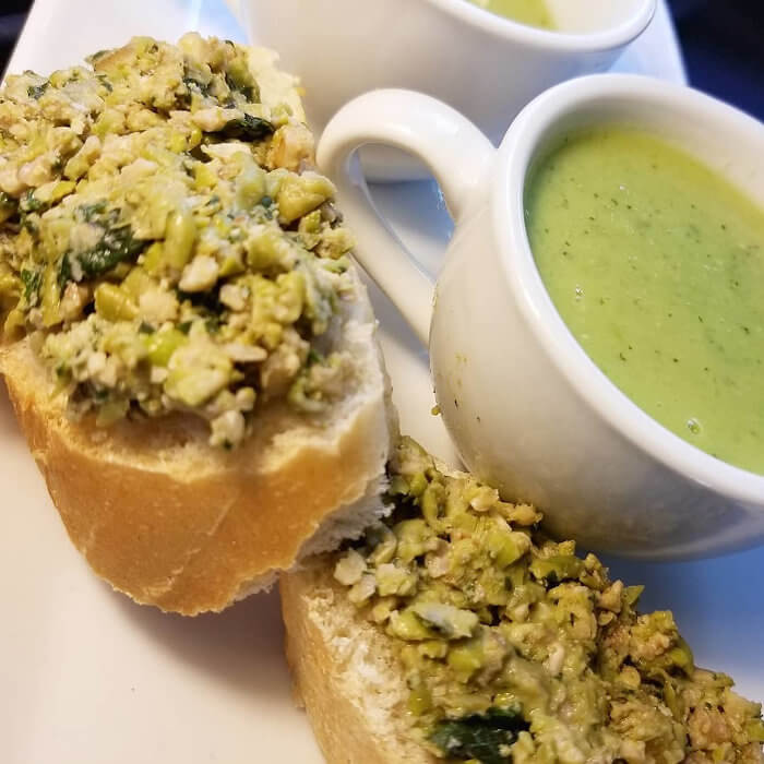 Pea Soup with Sweet Pea Pesto Toast