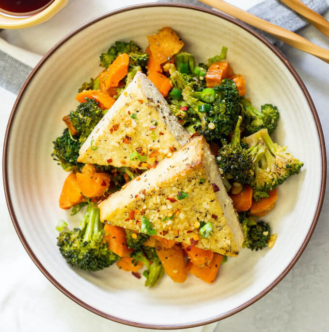 Charred Broccoli and Carrots with Sprouted Tofu