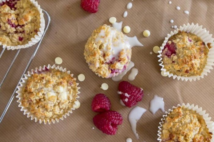 Oat Baked Muffins with Almond Butter Drizzle and Seasonal Fruits