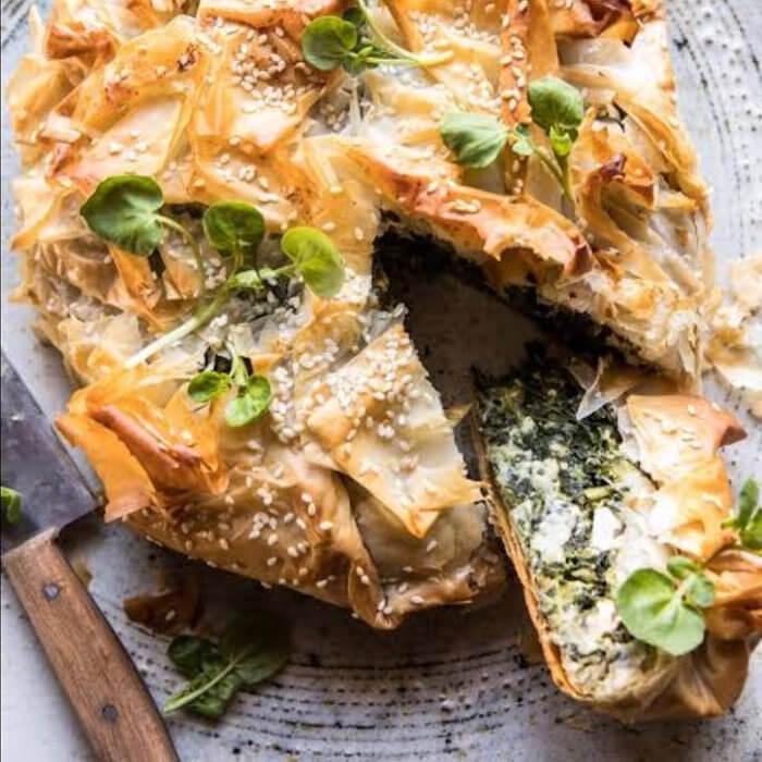 Zucchini Spinach Corn Cashew Pie