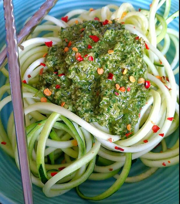 Thai Basil Pesto with Zucchini Noodles