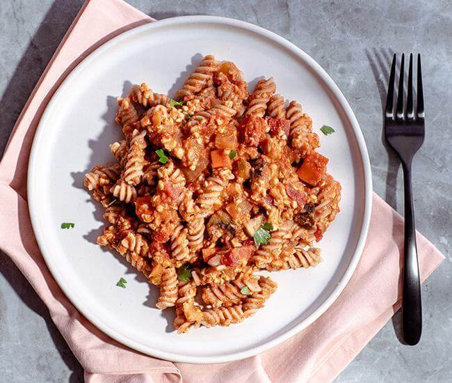 Marcella Inspired Bolognese with Red Lentil Rotini