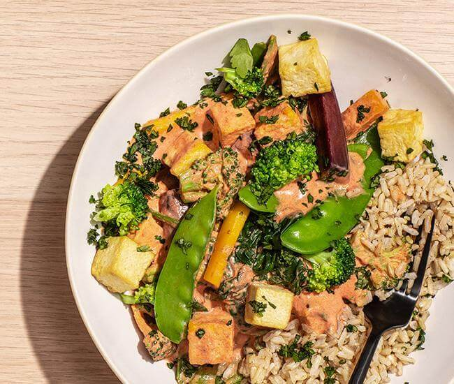 Thai Coconut Red Curry with Lemongrass Rice