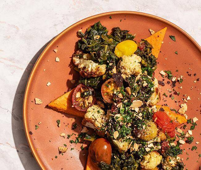 Veggie Heavy Spanakopita with Chickpea Toast and Olive & Almond Crumble