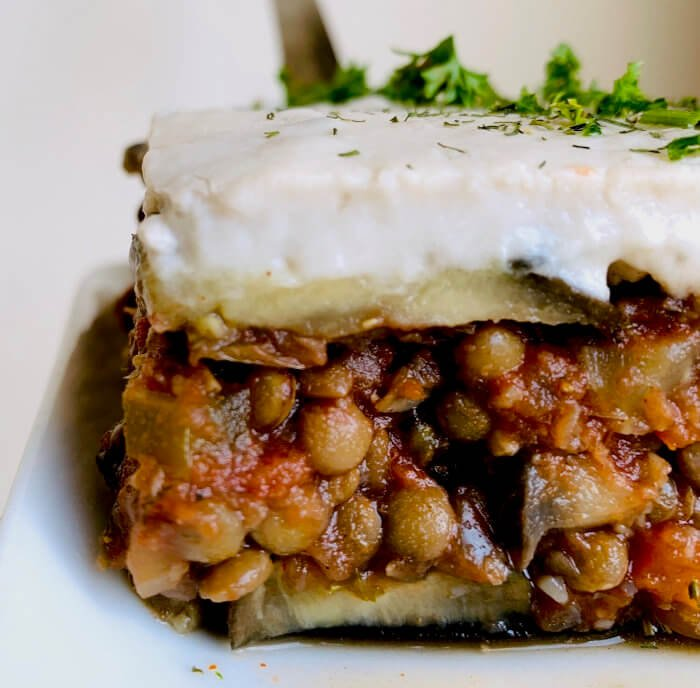 "Lentil Eggplant Moussaka with ""Cheese"" Bechamel"