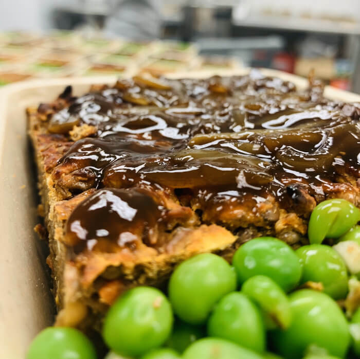 Lentil Roast with Balsamic Onion Gravy & Peas on Side