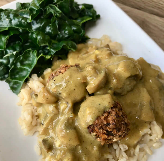 Swedish Meatballs with Peppered Kale