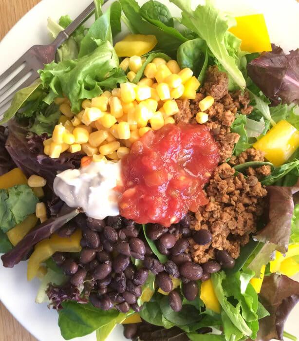 Taco Salad with Sour Cream & Salsa