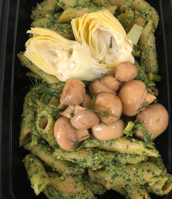 Pesto Pasta with Artichoke Hearts and Homemade Marinated Mushrooms