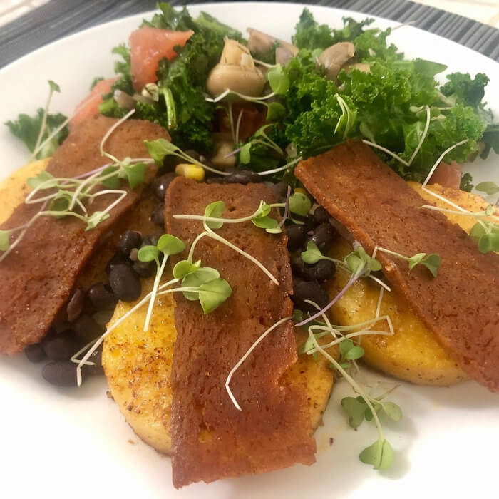 Polenta Bac'n Cakes and King Kale Mushroom Salad with Microgreens