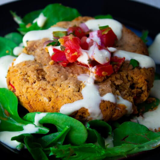 Taco Burger with Chickpea & Lentil Patty