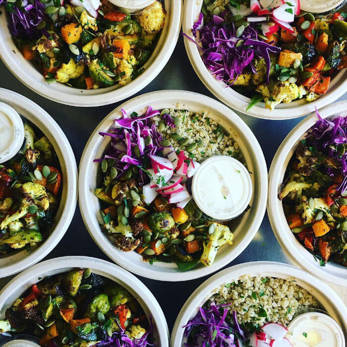 Roasted Vegetable Buddha Bowls with House Miso Dressing